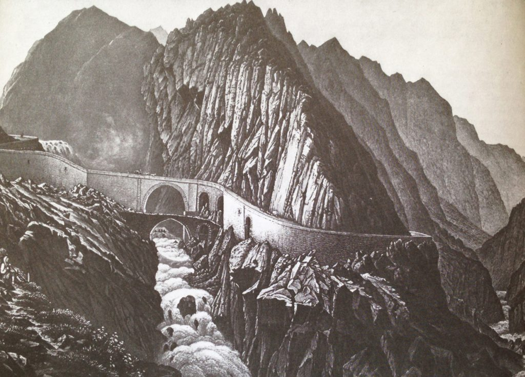 19th century engraving of the Ponte del Diavolo on the St. Gotthard Pass Switzerland, by R. Dikenmann. Nature and man's construction.