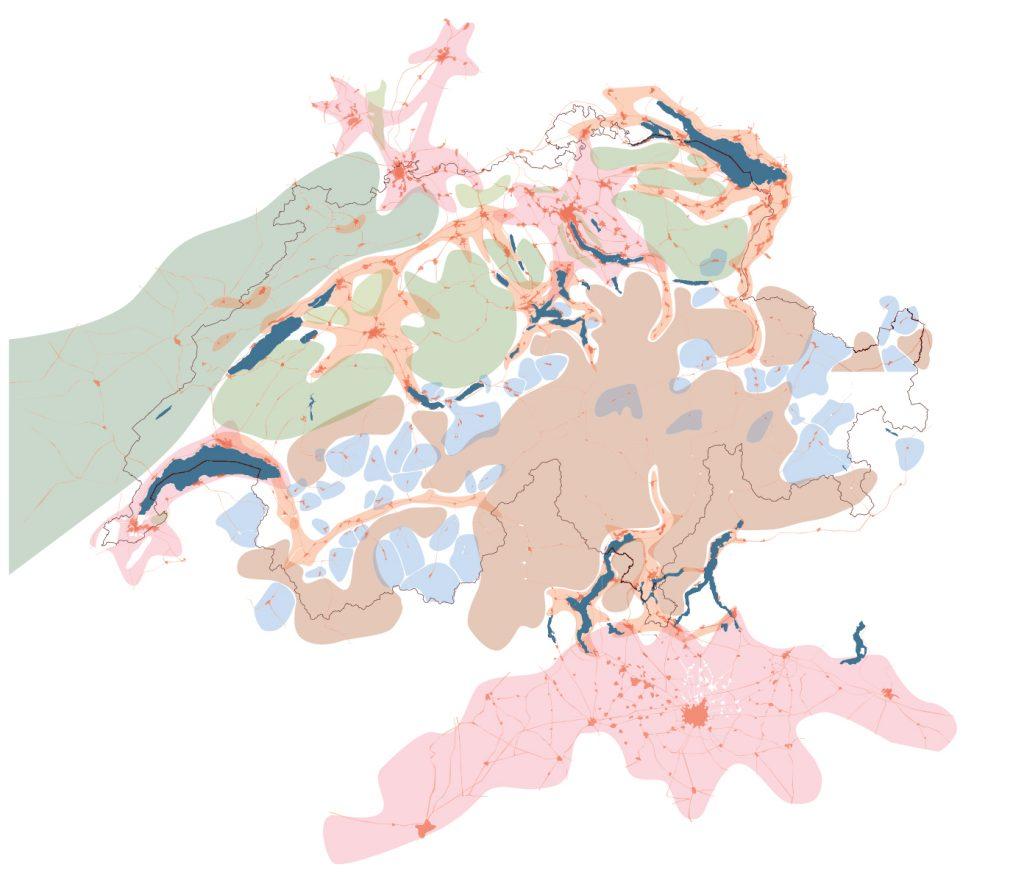 Switzerland's Urban Potential: Metropolitan regions, Networks of cities, Quiet zones, Alpine resorts, and Alpine fallow lands. ETH Studio Basel, 2005. From: Roger Diener et al., Switzerland: An Urban Portrait (Basel: Birkhäuser, 2005).