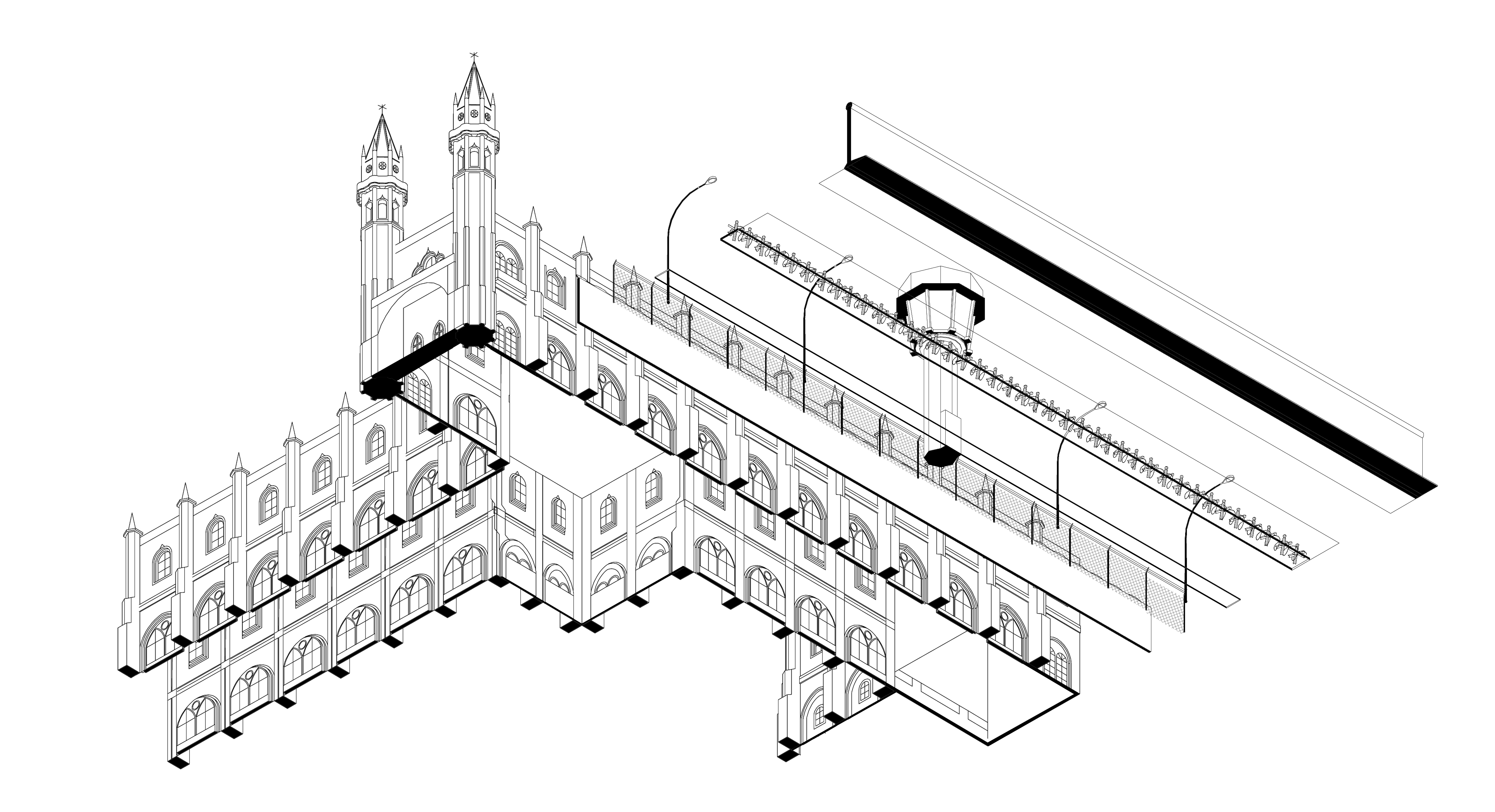 Image 01_ Axonometric View of a section of the Lisbon Wall next to Mosteiro dos Jerónimos