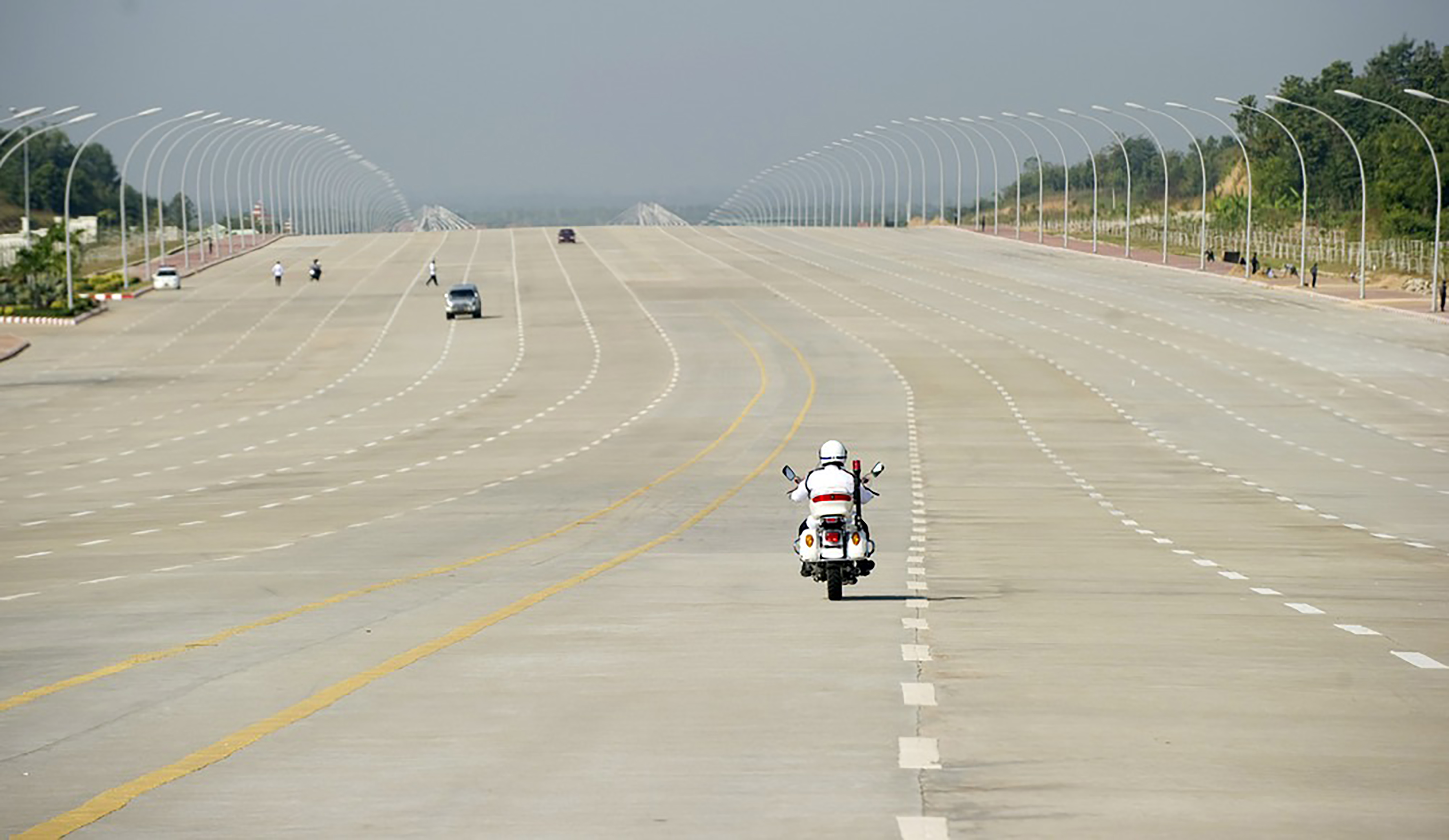 Superform. Twenty-lane highway in Myanmar's administrative capital, a city of less than a million people.